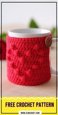 Crochet I heart u mug cozy Free Pattern #ValentinesDay #crochet #crochetpattern Crochet Coffee Cozy, Crochet Cozy, Crochet Gifts, Free Crochet, Simple Crochet, Mug Cozy Pattern, Free Pattern, Valentines Mugs, Valentine Stuff