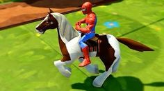 getlinkyoutube.com-Old MacDonald Song   Spiderman having fun riding a Horse with Action