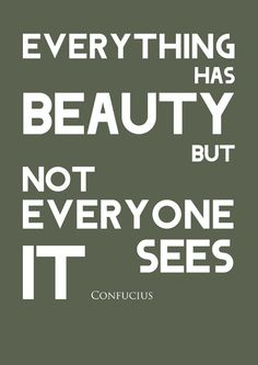 Everything has beauty but not everyone sees it. Confucius #art #quotes