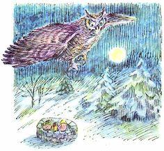 spot illustration, animal, bird, owl, night, moon. Vintage Kids' Books My Kid Loves: The Mole Family's Christmas