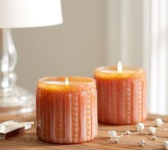 Peach Pressed Glass Scented Candle Pot #potterybarn