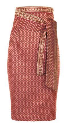 High-Waisted Thai Silk Skirt