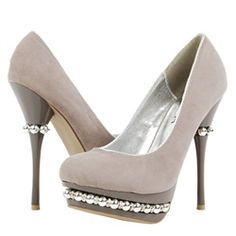 Liliana Zoey Gray Beaded Embellished Triple Platform High Heel Evening Pumps and Womens Shoes - Make Me Chic