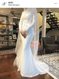 Beautiful long wedding dress by Davis Paul Lister DPLKL Long Wedding Dresses, Malay Wedding Dress, Bridal Dresses, Bridesmaid Dresses, Muslimah Wedding Dress, Wedding Hijab, Wedding Attire, Dress Pesta, Akad Nikah