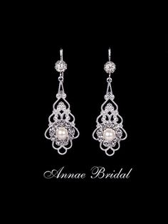 Bridal earrings wedding jewelry White pearl and by AnnaeBridal