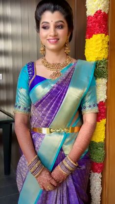 Half Saree Designs, Sari Blouse Designs, Fancy Blouse Designs, Bridal Blouse Designs, Bridal Sarees South Indian, Indian Bridal Fashion, Traditional Blouse Designs, Lehenga Saree Design, Wedding Saree Collection