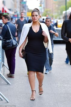 Stunning: Ashley Graham 28, put the curves into a classic LBD as she stepped out in Manhat...