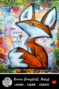 Add this whimsical fall fox painting to YOUR art journal, or create him on homemade canvas as fall wall art! In this free acrylic painting video/ mixed media art tutorial, I'll teach you how EASY it is to upcycle an old r Kunstjournal Inspiration, Art Journal Inspiration, Stamp Drawing, Wall Drawing, Homemade Canvas, Fox Painting, Fall Art Projects, Autumn Art, Whimsical Art