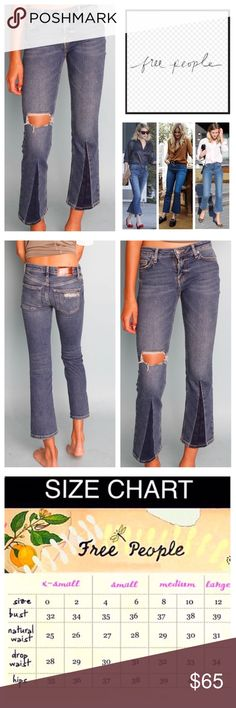 """🆕Free People Colorblock Flare Cropped Jeans. NWOT 🆕 Free People Colorblock Flared Cropped Jeans, 80% cotton, 16% modal, 3%polyester, 1% spandex, machine washable, 30"""" waist, 10"""" front rise, 13"""" back rise, 26"""" inseam, 16"""" leg opening all around, zip fly button closure, black line on Free People label to prevent return to store, measurements are approx.  New without tag, never worn. NO TRADES Free People Jeans Ankle & Cropped"""