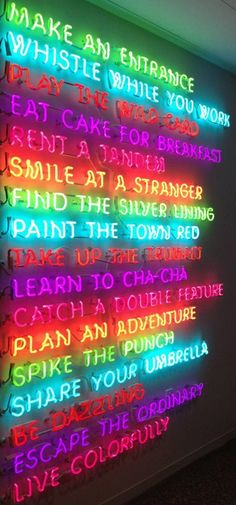 KATE SPADE NY shop display 'live colorfully' with inspirational messages in neon. Neon Licht, Neon Aesthetic, Aesthetic Space, Rainbow Aesthetic, Aesthetic Girl, Aesthetic Clothes, Photo Wall Collage, Photo Collages, Neon Lighting