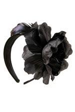 Black feather and ribbon headband.