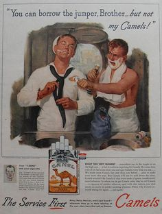 1940s Camel Cigarettes Vintage Advertisement World War 2 Smoking Gay Sailor Navy Queer by Christian Montone, via Flickr