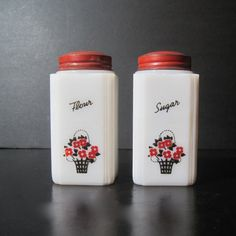 Vintage Tipp City Flour and Sugar Shakers by Hallingtons on Etsy, $29.95
