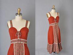 1970s vintage brown hippie dress by LittleAnnieVintage on Etsy, $68.00