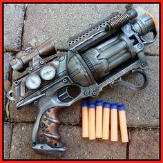 Steampunk Gun Nerf Maverick N-Strike Victorian Gothic Zombie Vampire killer soft dart toy.