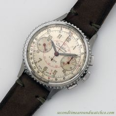 A 1946 Breitling Chronomat Ref. 769-217012 watch. This vintage timepiece features a stainless steel case, a patinated silver dial with arabic numerals, a coin-edged steel bezel and a 17-jewel, manual-wind Venus 175 movement. (Store Inventory # 10283, listed at $4250, available for purchase online and in store.)  #breitling #chronomat #chronograph #steel #collectible #classic #wristwatch #vintage #watches #cool #watch #timepieces #wristwatches #menswear #mens #complication #stawc