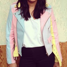 Obsessed with the Unif Pastel Rainbow Faux Leather Moto Jacket. Online only! #motojacket #urbanoutfitters