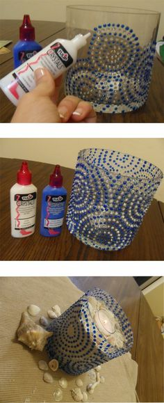 holder idea, craft, puffy paint, candle holders, glass, candl holder, diy candle, candle jars, diy centerpieces
