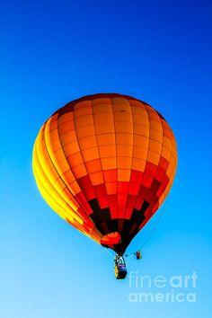 Orange Checkered Hot Air Balloon : See more images at http://robert-bales.artistwebsites.com/