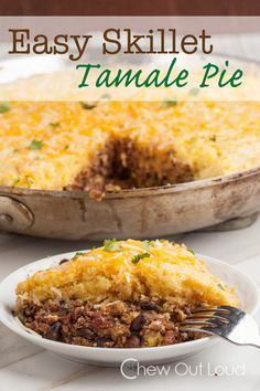 Skillet Tamale Pie - an absolute family favorite. Comes together in 30 minutes. Scrumptious filling topped with tender cornbread.