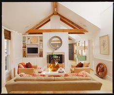 Lee Kleinhelter's Atlanta home- Cottage Living October 2006 Eclectic Living Room, Living Room Designs, Living Spaces, Living Rooms, Residential Interior Design, Interior Design Services, Custom Home Builders, Custom Homes, Mirror Over Fireplace