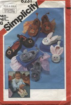 Simplicity  6231 Boys and Girls  Slipper by OnceUponAnHeirloom, $3.95