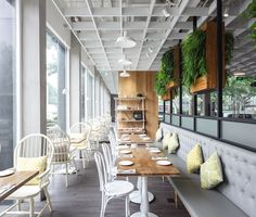 Nora's Bistro is a chic Californian style restaurant in Jingan District, Shanghai. Designed by Hannah Churchill by hcreates. Photographed by Seth Powers. [2015.6]
