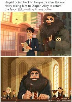 Hagrid at Hogwarts this is so cute! { I love that harry takes hagrid to hogsmead how hargid did for him all those years before Harry Potter Fan Art, Harry Potter World, Gina Harry Potter, Mundo Harry Potter, Harry Potter Jokes, Harry Potter Universal, Harry Potter Fandom, Hogwarts, Ron Et Hermione