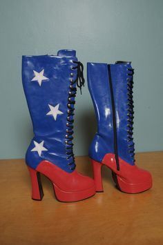 Sz 9 Wonder Woman Red White Blue Platform Boots by bellejarvintage, $45.00  I'm going to need someone to talk me out of these, QUICK.