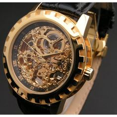 """Eric Edelhausen """"Dorado"""" Men's Gold Plated Automatic Skeleton-- DISCOUNT for a limited time! Cool Watches, Watches For Men, Men's Watches, Luxury Watches, Fine Watches, Wrist Watches, Best Skeleton Watches, Women Skeleton, Most Popular Watches"""