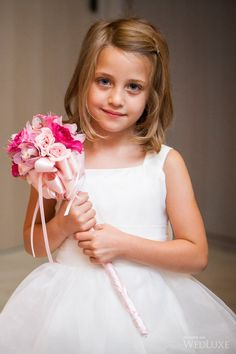 This pink flower girl wand/bouquet is unique & sweet. Flower Girl Wand, Flower Girl Bouquet, Flower Girl Basket, Flower Bouquet Wedding, Bridesmaid Bouquet, Flower Girl Dresses, Flower Girls, Bridesmaids, Gown Wedding