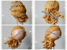 Crochet ideas that you'll love Cake Topper Tutorial, Fondant Tutorial, Yarn Dolls, Felt Dolls, Doll Wigs, Doll Hair, Fondant Hair, Hair Clay, Clay People