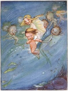 "1915 ~ Mabel Lucie Attwell Illustration from the Book ""The Water Babies"" by Charles Kingsley ...."