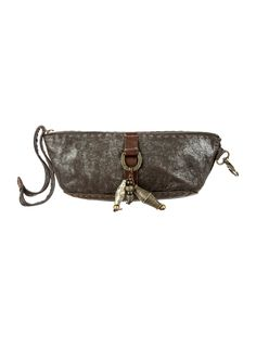 Brown metallic treated leather Henry Beguelin clutch with contrast brown stitching, brass-tone charm pieces at front and top zip closure. Shop Henry Beguelin handbags on sale at The RealReal.