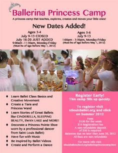 Sample flier for a Ballerina Princess Camp