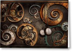 Steampunk - Abstract - Time Is Complicated Greeting Card by Mike Savad
