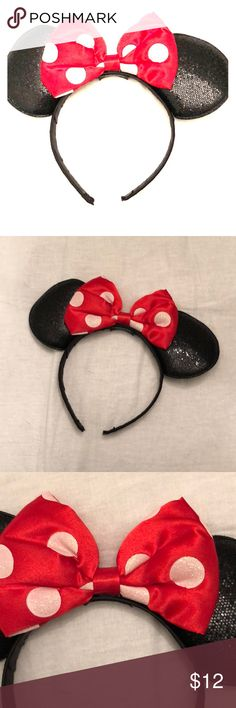 Sparkly Mini Mouse Ear Headband!! Only worn once for a day in Magic Kingdom!✨ Minnie Mouse ears - all sparkly including sparkly polka dot bow as well. SO CUTE & SO SO SO comfortable! I thought for sure I would have to take these off at some point but ended up not needing to! Fits both kids AND adults! Much cheaper than buying in the parks Disney Accessories Hair Accessories
