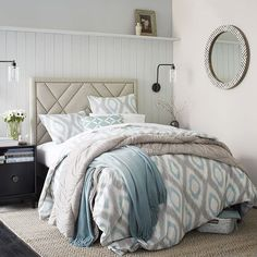 Patterned Nailhead Upholstered Headboard - Linen Weave, Natural  Totally want to DIY this!!!!!