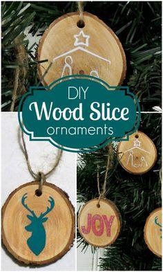 DIY Wood Slice Christmas Ornaments craft tutorial