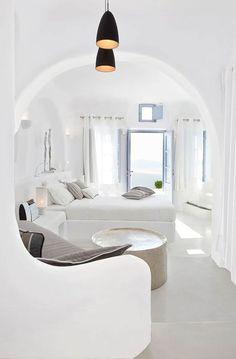 Book Dana Villas in Santorini, Greece Black And White Interior, White Interior Design, Interior Logo, Black White, White Light, Trendy Bedroom, Modern Bedroom, White Bedroom, Villa Interior