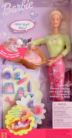 """Barbie KENNEL CARE GIFTSET w SOUNDS, Puppies, Kitten & MORE! (2001). Barbie Kennel Care Giftset is a 2001 Mattel production. CONTENTS: Barbie Doll approx. 11.5"""" tall, Pair of Pants, T-Shirt, Pair of Shoes, Hair Brush, Basket, Puppies, Kitten, Baby Bottles, Puppy Bowl, Toy Mouse, Teddy Bear, Rattle, Kitten Food Bag, Puppy Food Bag. Put Pets in Basket for """"REAL"""" Pet Sounds! Press Puppy's head & hear Puppy Sounds! Barbie Doll's hands hold Basket & Pick Up Pets w/your help!. For Ages 3…"""