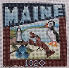 Denise DeRusha Geographical Needlepoint - Maine