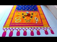 संक्रांती हल्दी कुमकुम स्पेशल पैठणी साड़ी रंगोली| हळदी कुंकू स्पेशल पैठणी साडी रांगोळी|haldi kumkum - YouTube Rangoli Designs Photos, Easy Rangoli Designs Videos, Rangoli Designs Simple Diwali, Rangoli Designs Latest, Kolam Designs, Simple Rangoli, Mehndi Designs, Poster Rangoli, Picnic Blanket