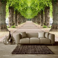9.61$  Watch now - http://alic6s.shopchina.info/go.php?t=32770653698 - 3D Nature Landscape Forest Road Photo Mural Customized Size Non-woven 3D Straw Wallpaper For Wall TV Sofa Background Wall Decor 9.61$ #magazine