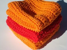 Three Cotton Dishcloths, Red and Orange Dishcloths, Crochet, Crocheted, Dishcloths, Dish Cloths - Hoooked by HoookedHandmade on Etsy, $12.00
