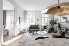 〚 White Swedish apartment with stylish decor sqm) 〛 ◾ Photos ◾Ideas◾ Design Loft Living, Apartment Inspiration, Scandinavian Home, One Bedroom Apartment, Home, Small Living Rooms, My Scandinavian Home, Home Decor, Living Room Designs
