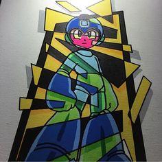 Mega man!  Follow the artist:  @treyaces  #artbotic #artist #art #nintendo #