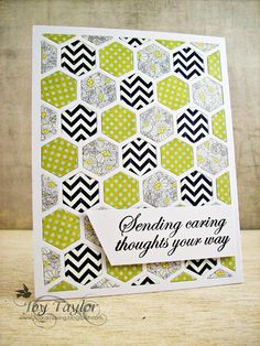 like the colors and patterns of the papers used with the PTI hexagon coverplate on this card...