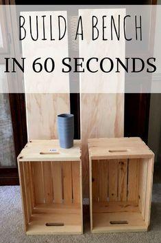 Wie baue ich eine DIY-Bank in 60 Sekunden – Cheater-Methode - Upcycled Crafts Repurposed Furniture, Diy Furniture, Wooden Crate Furniture, Unique Furniture, Wooden Crates, Diy With Crates, Wood Crates Entryway, Furniture Makeover, Outdoor Furniture
