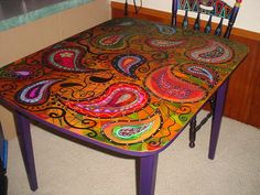 Lovely Hand Painted Swivel Table By WhimcyclebyLisa On Etsy | Whimsical ... |  Pinterest | Etsy